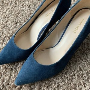 Blue Suede Nine West 2.5 Inch Pumps in Size 8.5